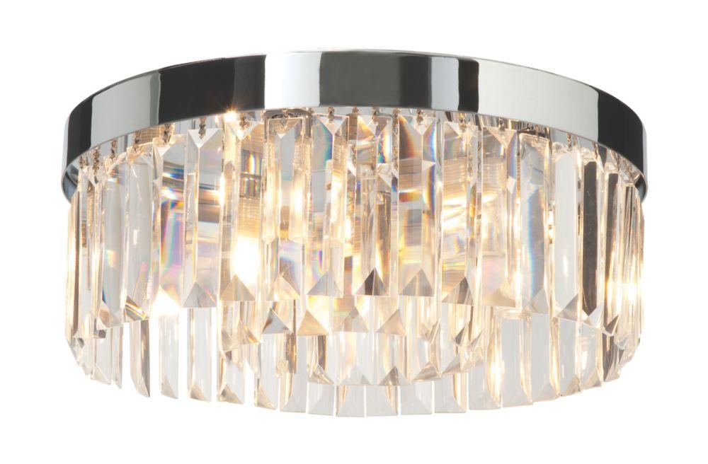 Image of Saxby Crystal Bathroom Ceiling Light Chrome G9 90W