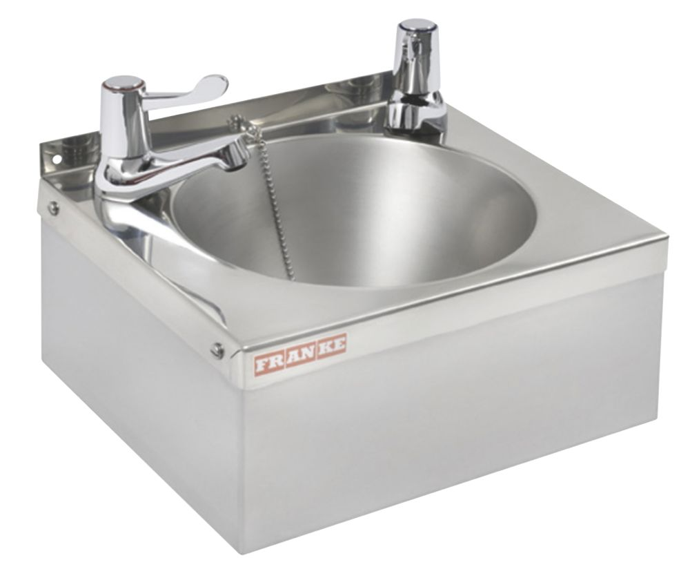 Image of Franke Model A Round Wall-Hung Washbasin 2 Taps S/Steel 1-Bowl 305 x 270mm