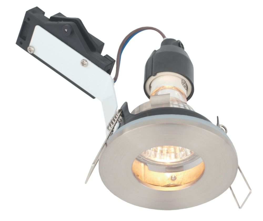 Image of LAP Fixed Round Mains Voltage Bathroom Downlight Brushed Chrome 240V