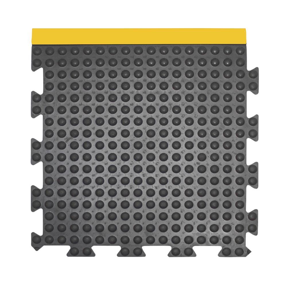 Image of COBA Europe Bubblemat Anti-Fatigue End Mat Black / Yellow 0.5m x 0.5m