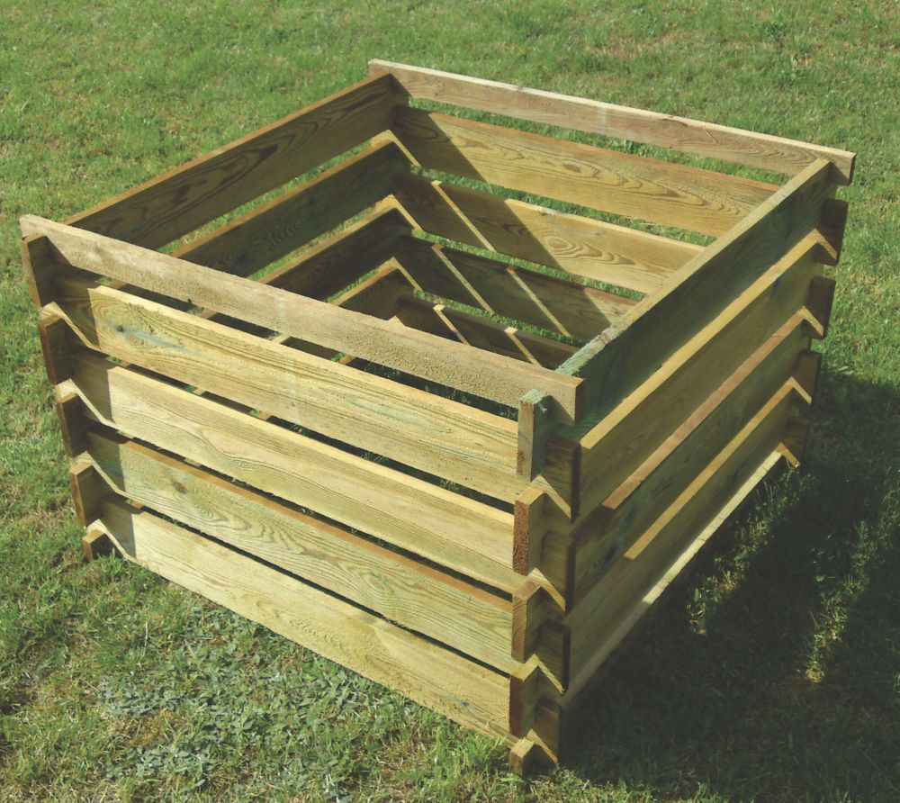 Image of Apollo Wooden Composter Natural 0.9 x 0.9 x 0.6m