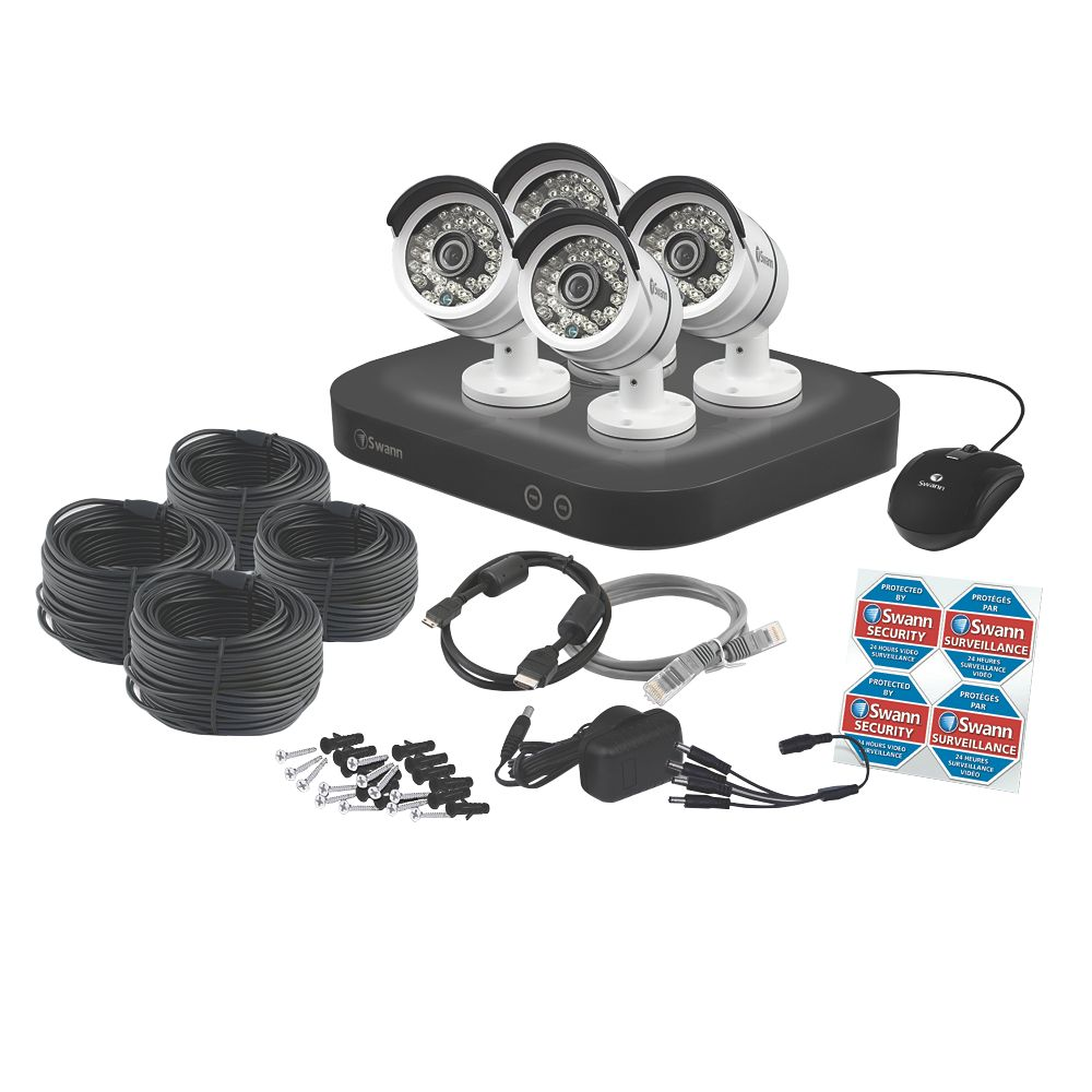 Image of Swann SWDVK-847504 8-Channel 3MP Super HD DVR Security System & 4 Cameras