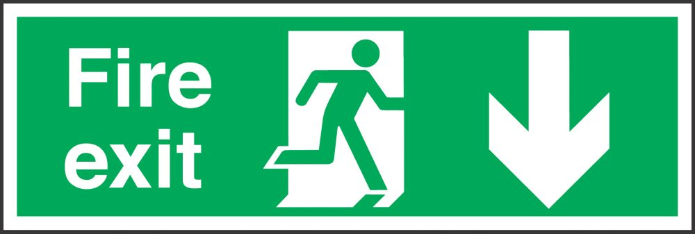 """Image of Fire Exit"""" Down Arrow Signs 150 x 450mm 50 Pack"""