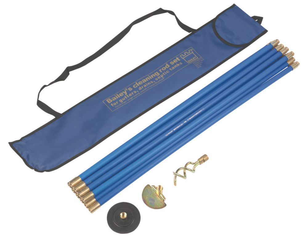 Image of Bailey Brass Jointed Blue Drain Rod Set 13Pcs