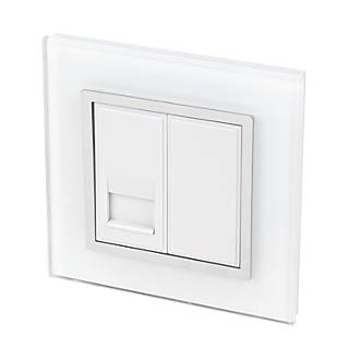 Image of Retrotouch Crystal Master Telephone Socket White Glass with White Inserts