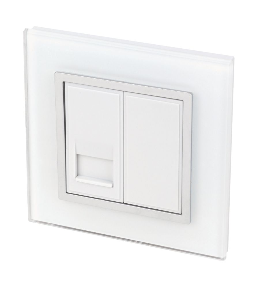 Image of Retrotouch Crystal 1-Gang Master Telephone Socket Tru White Glass