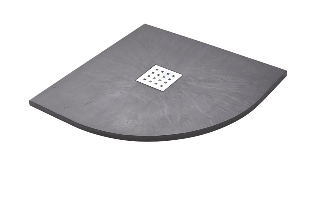 Image of The Shower Tray Company Quadrant Shower Tray Grey Slate-Effect 900 x 900 x 27mm