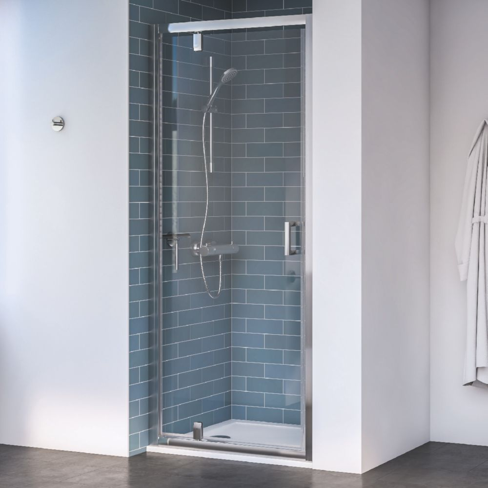 Image of Aqualux Edge 8 Pivot Shower Door Polished Silver 760 x 2000mm