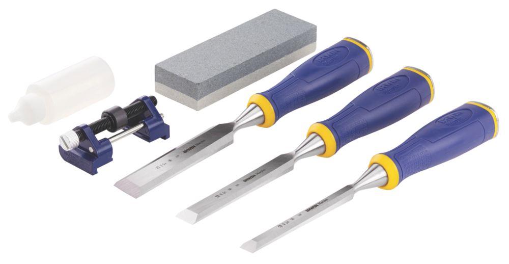 Image of Irwin MS500 Marples Wood Chisels & Sharpening Set 3Pcs