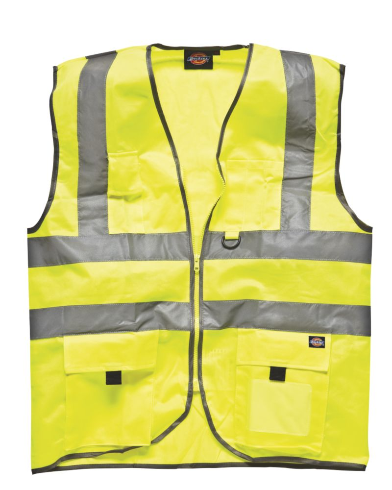 "Image of Dickies Hi-Vis Waistcoat Saturn Yellow Small 38"" Chest"