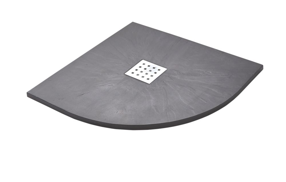 Image of The Shower Tray Company Quadrant Shower Tray Grey Slate-Effect 800 x 800 x 27mm