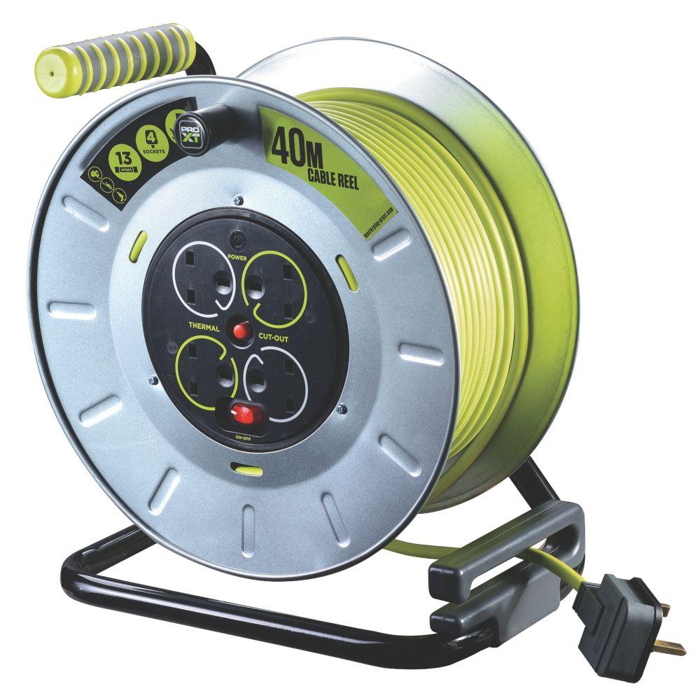 Image of PRO XT OTLU40134SL-XD 13A 4-Gang 40m Cable Reel 240V