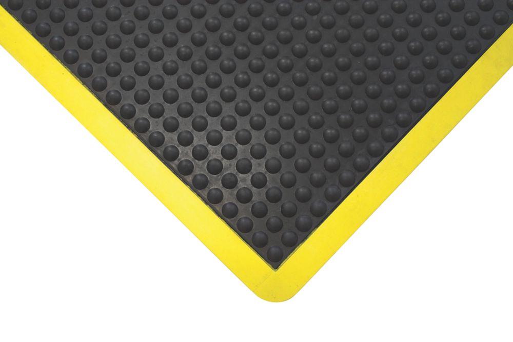 Image of COBA Europe Bubblemat Anti-Fatigue Mat Black / Yellow 0.9m x 0.6m