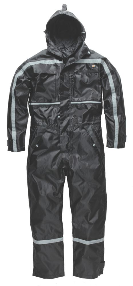 """Image of Dickies Dartmouth Waterproof Coverall Black Large 46"""" Chest 38-40"""" L"""