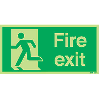 Image of Nite-Glo 'Fire Exit' Running Man Left Sign 150 x 300mm