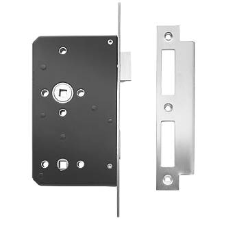 Image of Briton Stainless Steel Square Forend Bathroom Lock 93mm Case - 60mm Backset