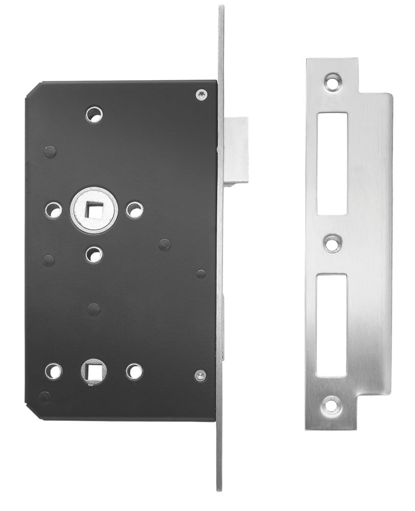 Image of Briton Square Forend Bathroom Lock Stainless Steel 93 x 20mm