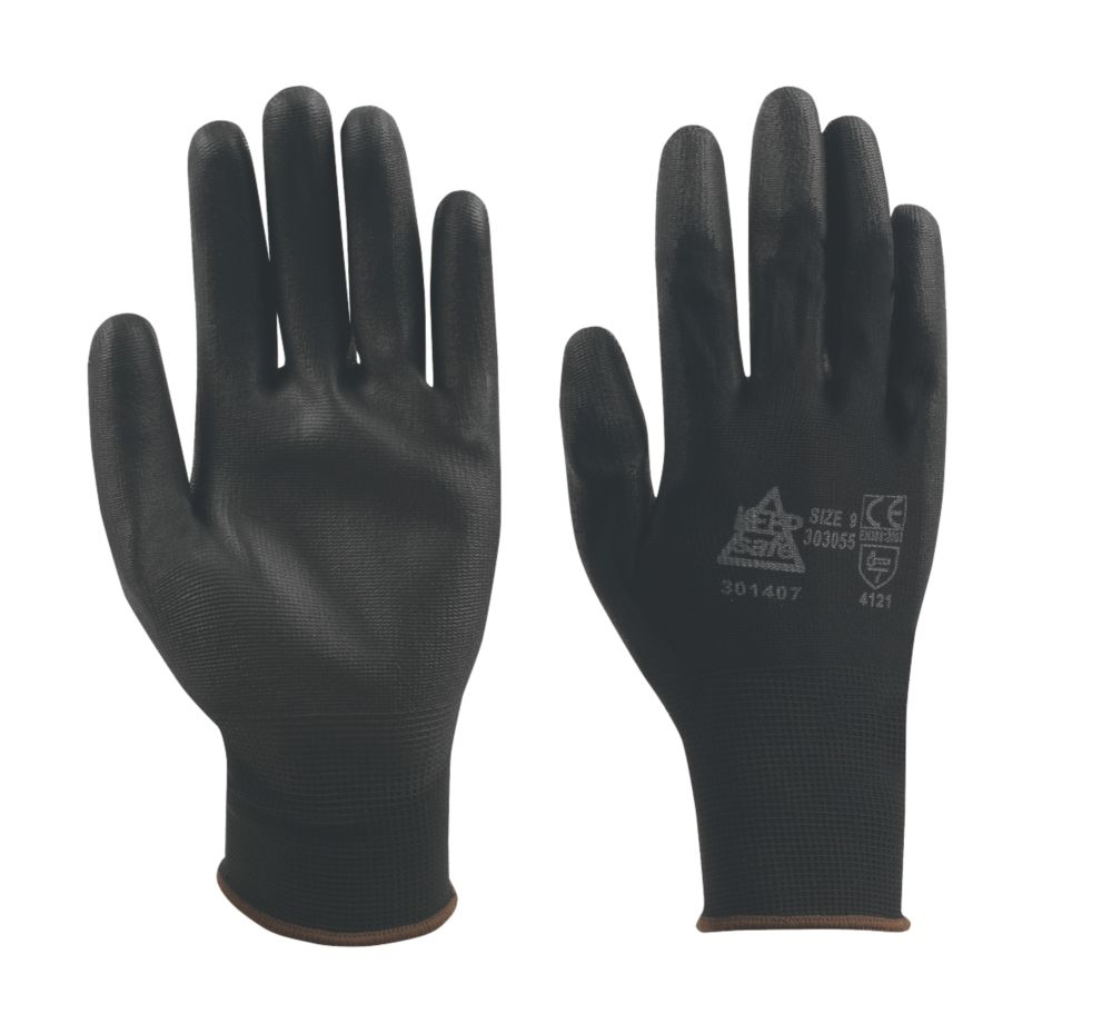 Image of Keep Safe PU Palm Gloves Black Medium
