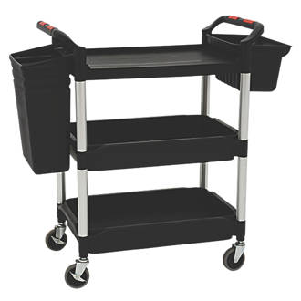 Image of Proplaz Plus Black 3-Shelf Tub Trolley with Bins