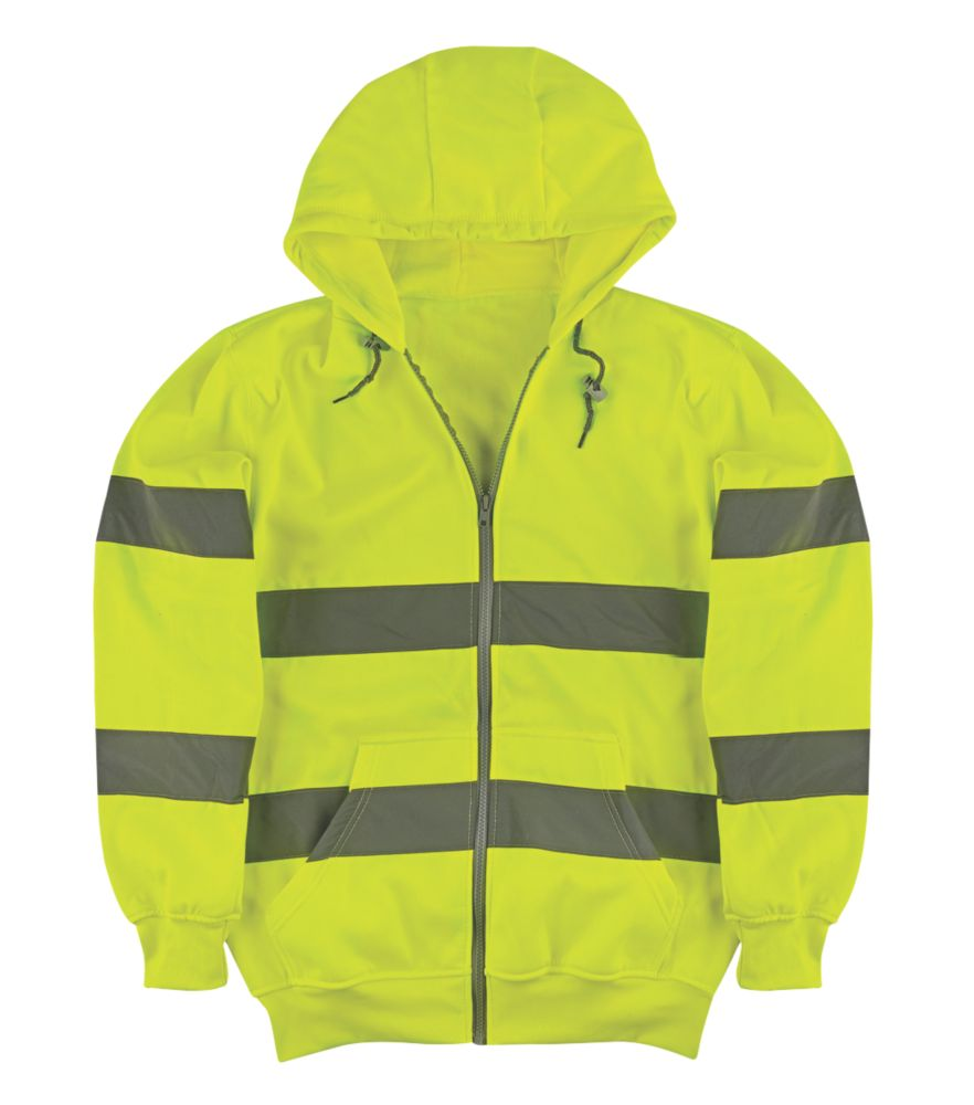 "Image of Portwest Hi-Vis Hoodie Yellow X Large 53"" Chest"