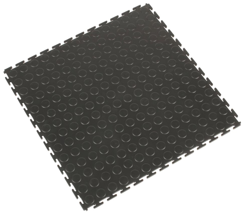 Image of COBA Europe Tough Lock PVC Interlocking Floor Tiles Black 4 Pack