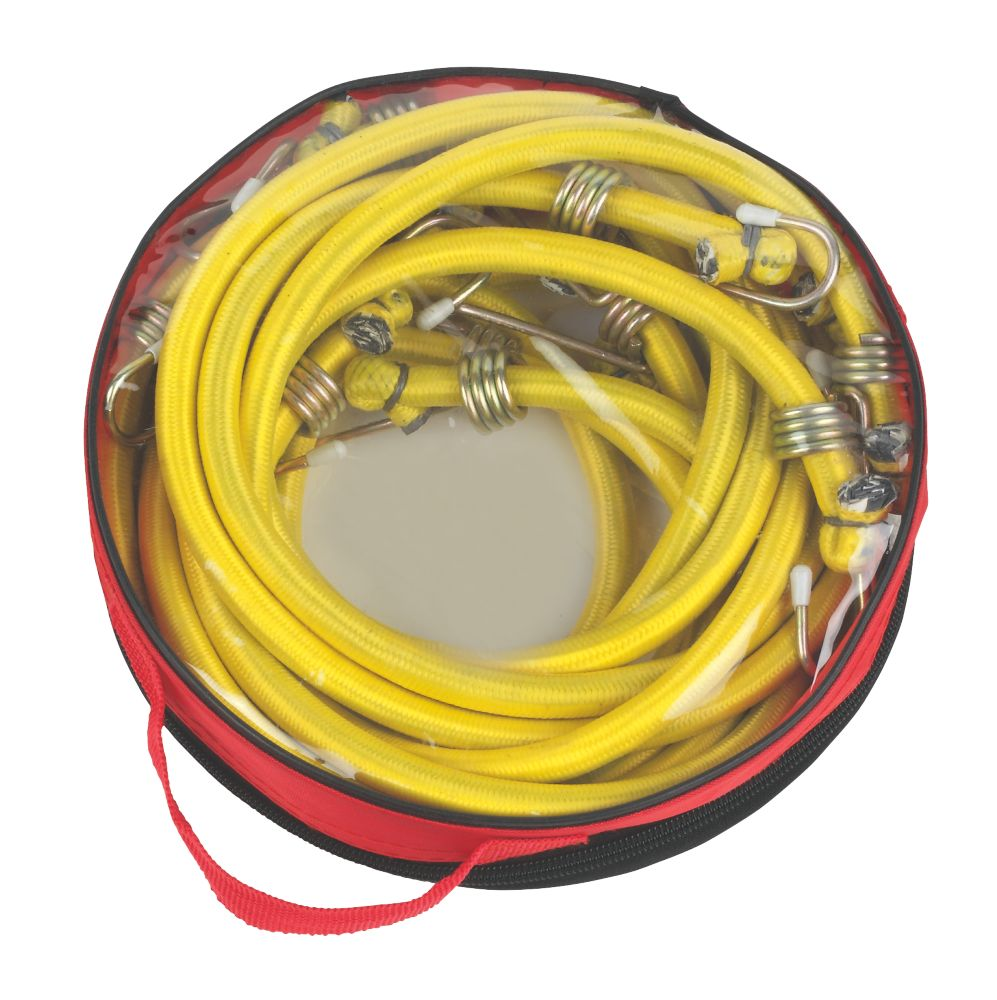 Image of Bungee Cords with Zinc Hooks Yellow 1200 x 12mm 6 Pack