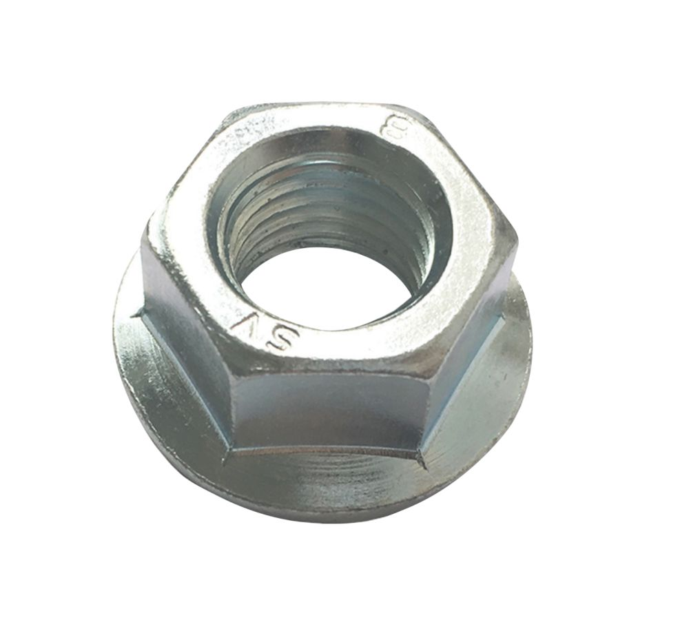 Image of Easyfix Flange Head Nuts Bright Zinc-Plated Carbon Steel M12 50 Pack
