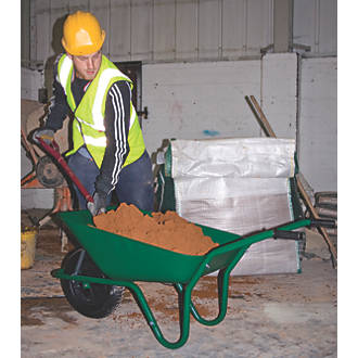 Image of Walsall Easiload Pneumatic Wheels Builders Wheelbarrow Green 85Ltr