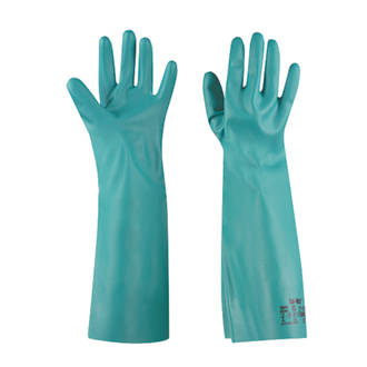 Image of Ansell Solvex 37-185 Chemical-Resistant Nitrile Gloves Green Large