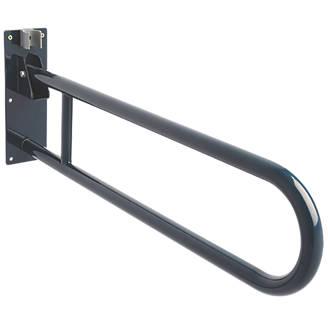 Image of Croydex AP502834 Fold-Down Handrail Blue 850 x 210 x 28mm
