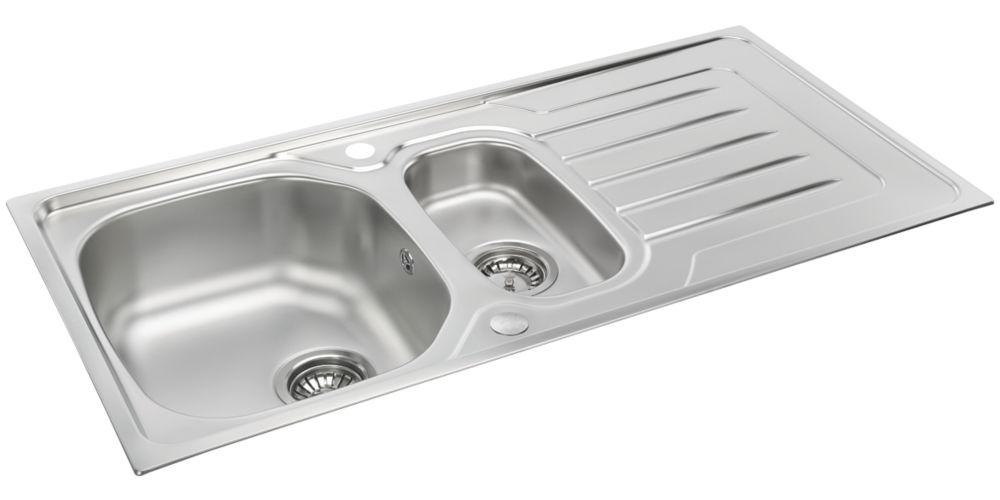 Image of Carron Phoenix Onda Reversible Sink & Drainer Stainless Steel 1.5 Bowl 1000 x 500mm