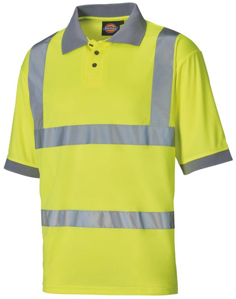 "Image of Dickies SA22075 Hi-Vis Polo Shirt Saturn Yellow Large 46"" Chest"