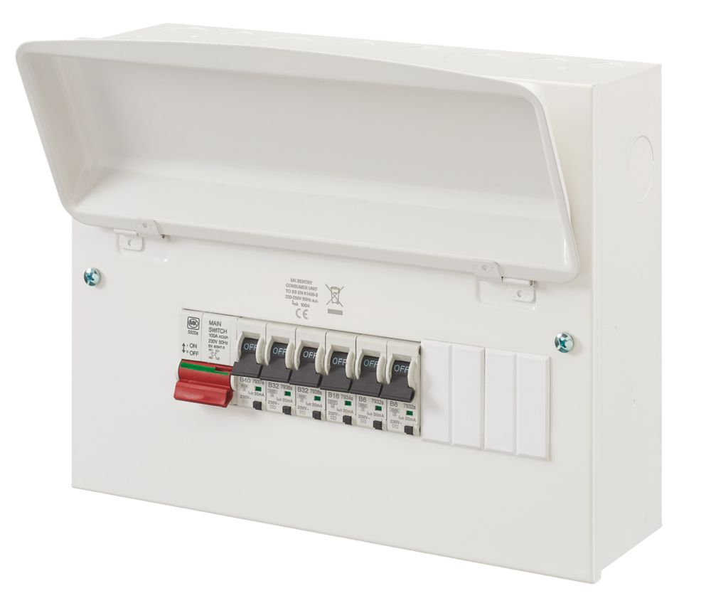 Image of MK Sentry 100A 12-Way Main Switch Metal Consumer Unit & 6 x RCBOs