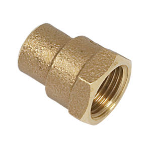 "Image of Yorkshire Brass Solder Ring Adapting Female Coupler 15mm x ½"""