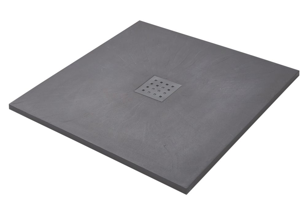 Image of The Shower Tray Company Square Shower Tray Grey Slate-Effect 900 x 900 x 27mm