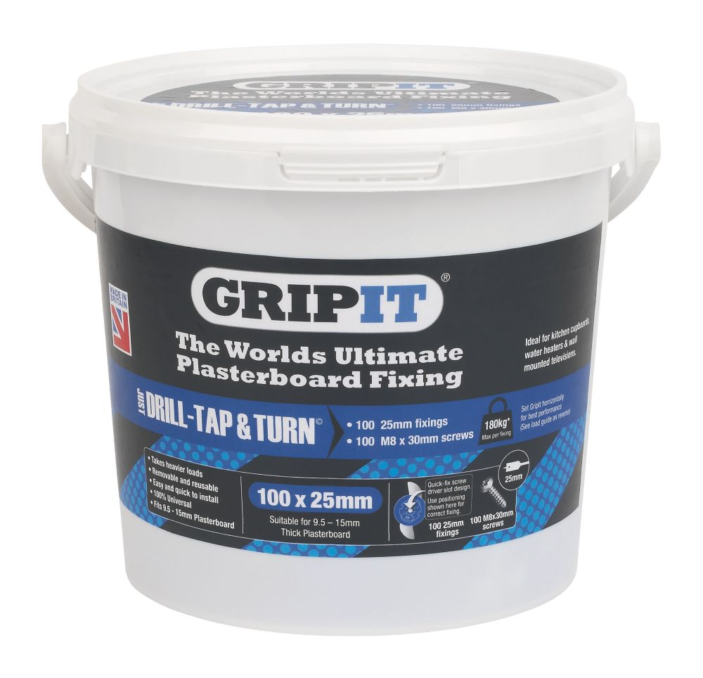 Image of GripIt Blue Plasterboard Fixings 25 x 20mm 100 Pack