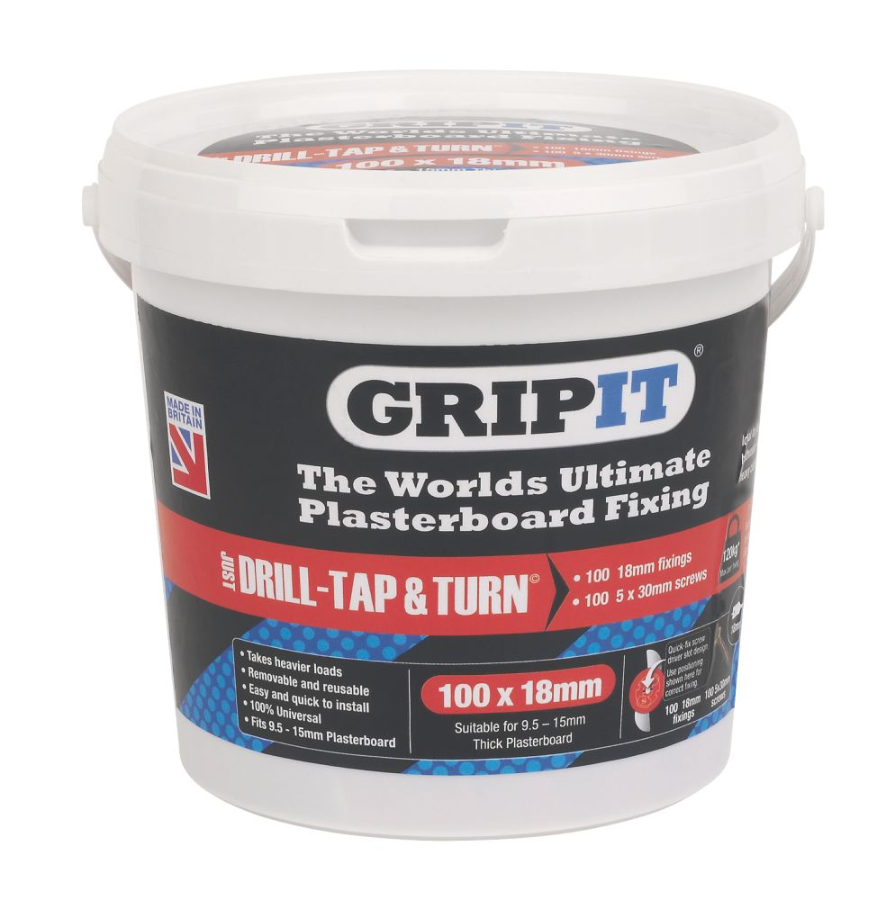 Image of GripIt Red Plasterboard Fixings 18 x 20mm 100 Pack
