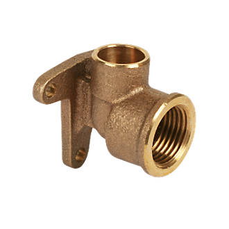 Image of Endex Brass End Feed Adapting 90° Wall Plate Elbow 15mm x ½""