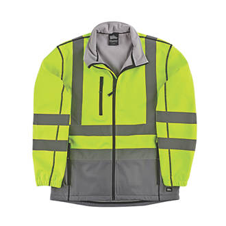 Hyena HiVis 2Tone Soft Shell Jacket YellowGrey X Large 51 Chest