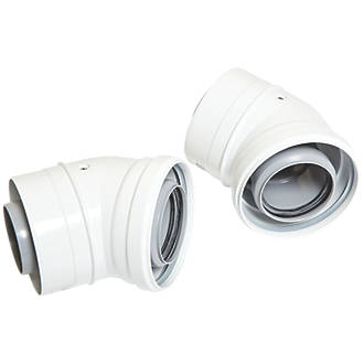 Image of Ideal Flue Elbow 60/100mm 45° 2 Pack