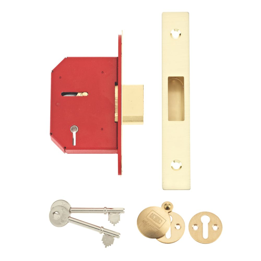 """Image of Union 5-Lever 5-Lever Mortice Deadlock Brass 2"""" / 64mm"""