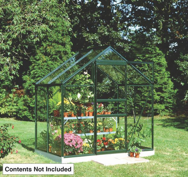 "Image of Halls Popular Framed Greenhouse Green 6 ' 3"" x 4 ' 3"""