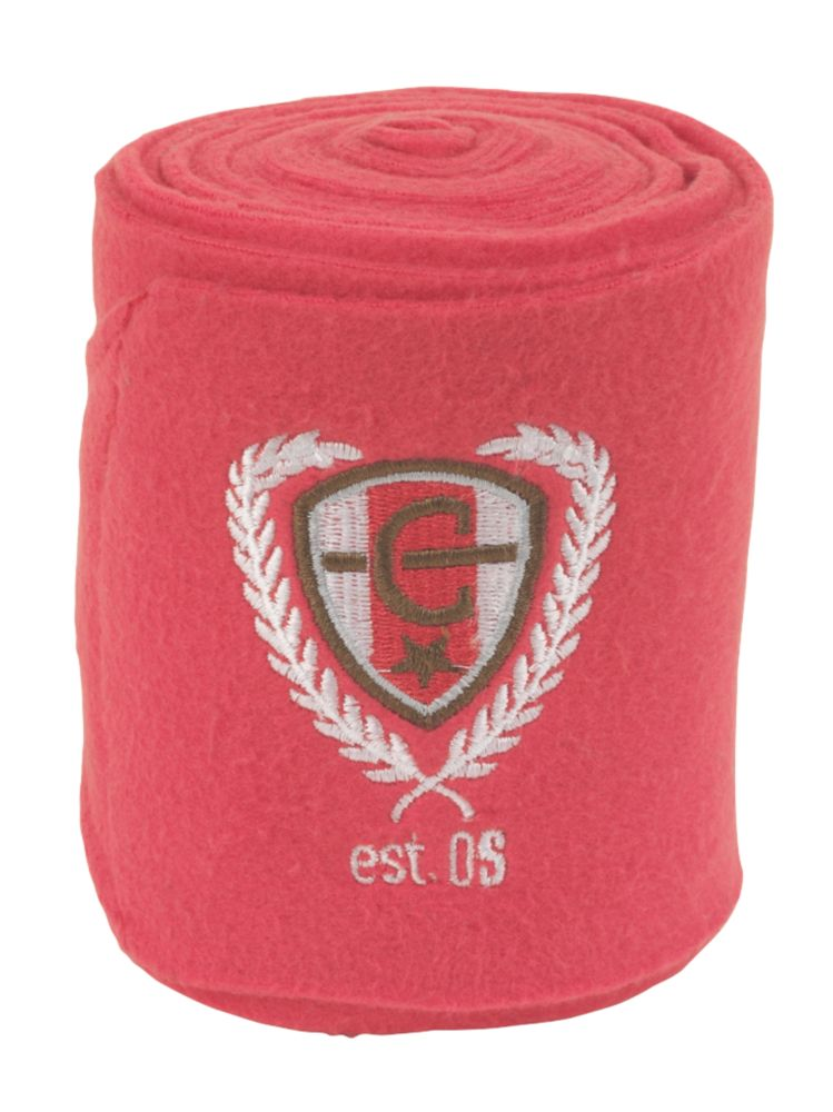 Image of Covalliero Fleece Horse Leg Bandages Pink 120mm x 3m 4 Pack