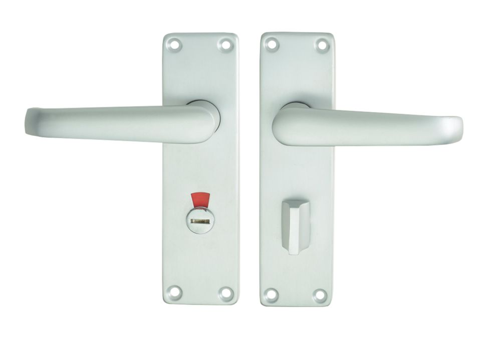 Image of Union Swallow Bathroom Door Handle RH Pair Satin Aluminium