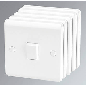 Image of LAP 10AX 1-Gang 1-Way Light Switch White 5 Pack