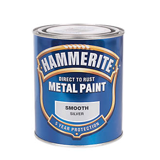 Image of Hammerite Smooth Metal Paint Silver 750ml