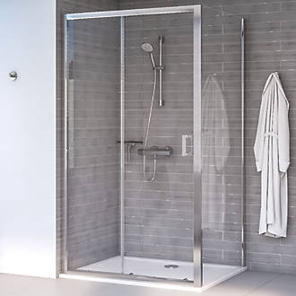Image of Aqualux Edge 8 Rectangular Shower Enclosure Reversible Left/Right Opening Polished Silver 1000 x 700 x 2000mm