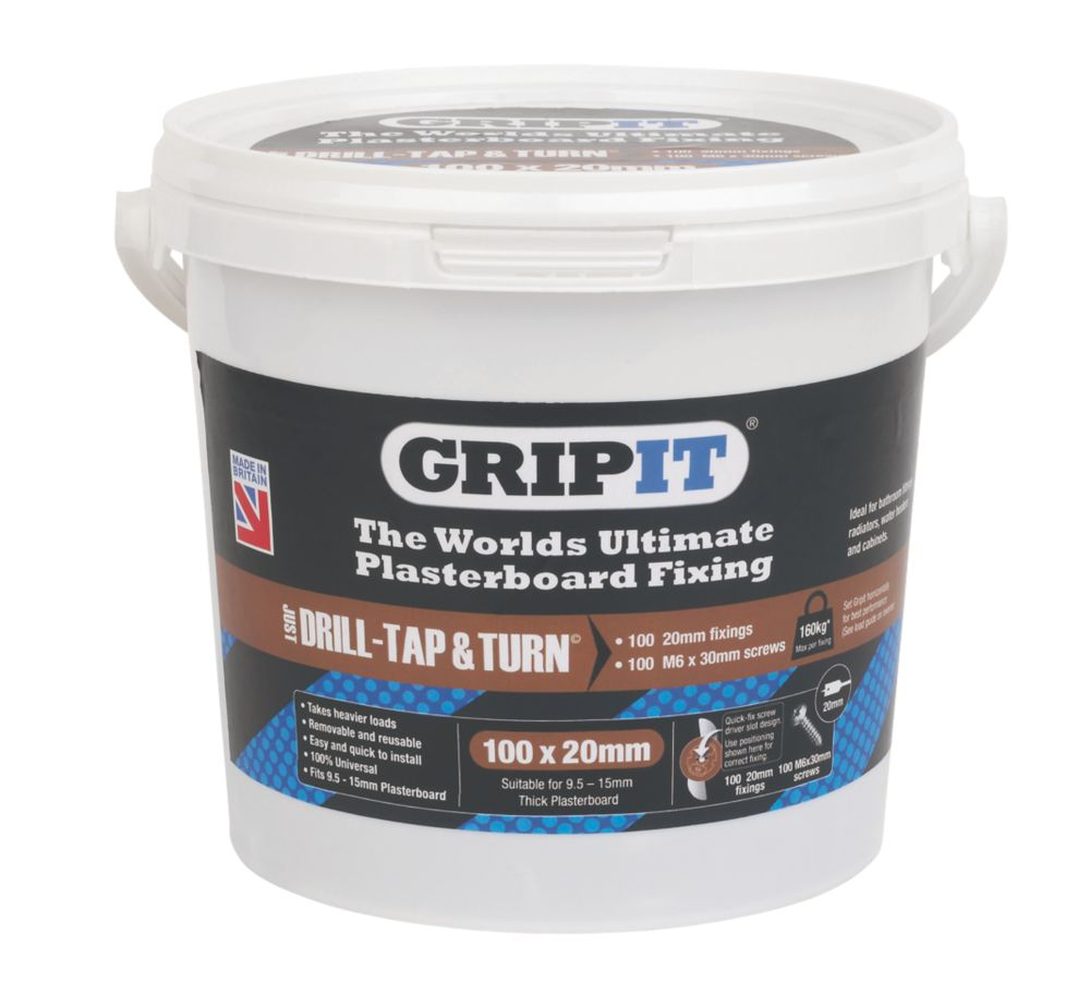 Image of GripIt Brown Plasterboard Fixings 20 x 20mm 100 Pack
