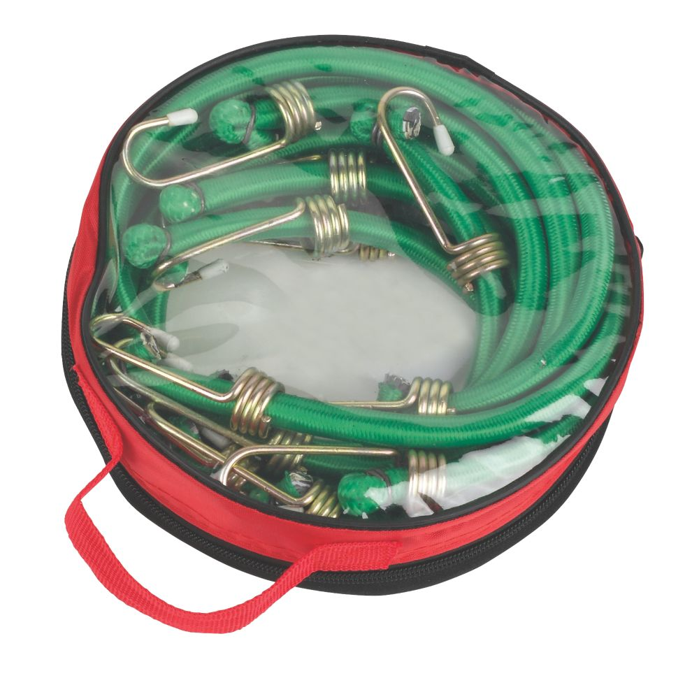 Image of Bungee Cords with Zinc Hooks Green 900 x 12mm 6 Pack