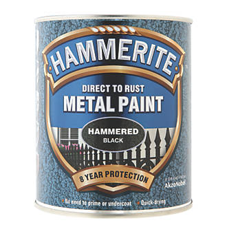Image of Hammerite Hammered Metal Paint Black 750ml